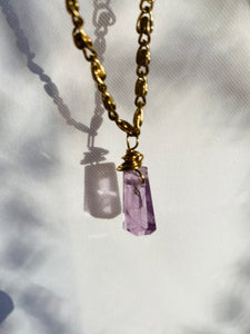 Dainty Baby Soul Chain w Lavender Fluorite Necklace