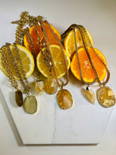 Load image into Gallery viewer, S.O.S Gold Plated Soul Chain w/ Electroplated Gold Citrine Crystal