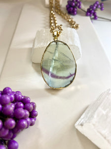 Fluorite Intergalactic Soul Chain w Electroplated Crystal