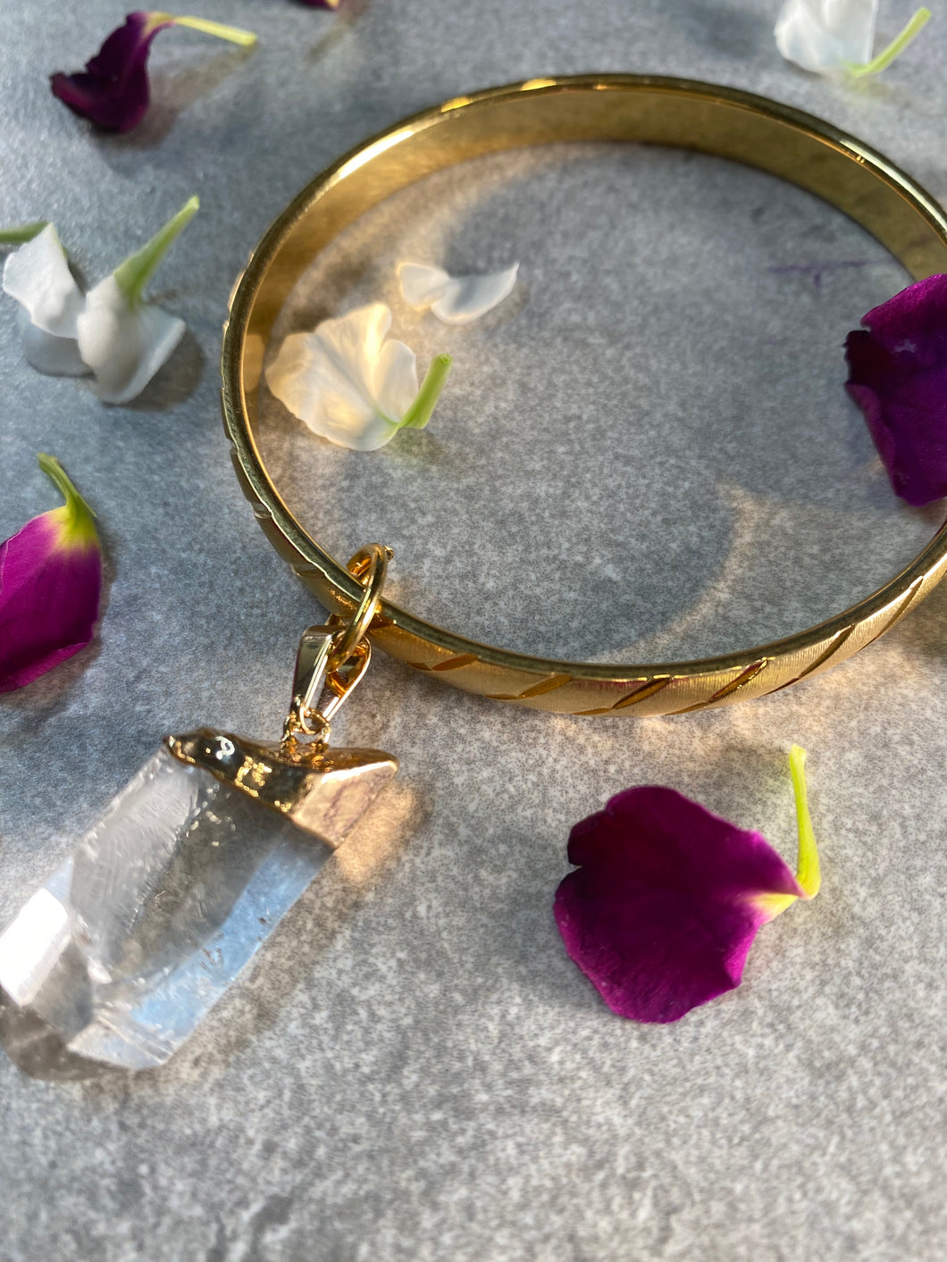 Golden Stackable Bangle with Chunky Clear Quartz Crystal Dangle
