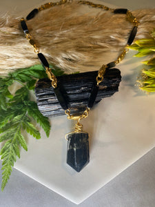 247 Golden & Black Soul Chain Choker w Black Tourmaline Crystal