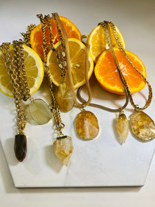 Vintage Gold Plated Soul Chain w/ Electroplated Gold Citrine Crystal