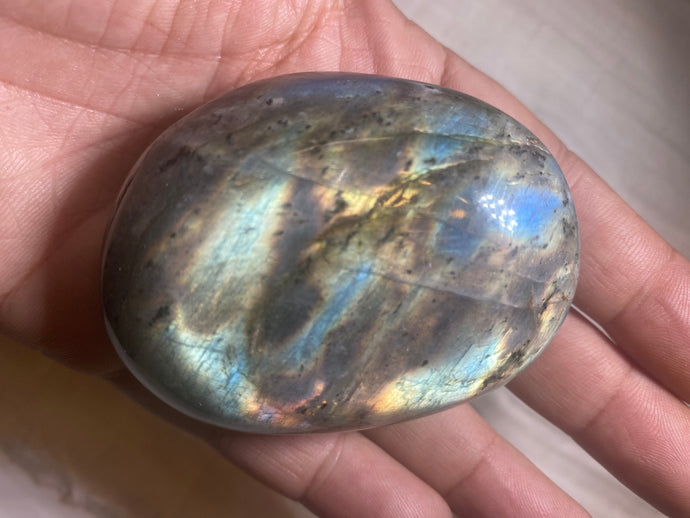 Labradorite Crystal Palm Stone Flashy Large