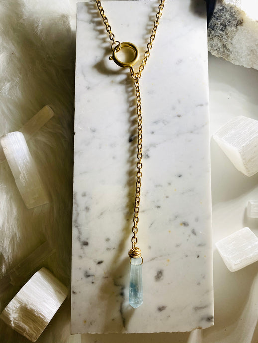 Dainty Baby Y drop Soul Chain w Baby Blue Faceted Ombré Fluorite Necklace