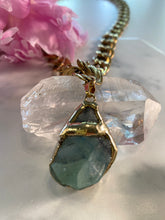 Load image into Gallery viewer, Shakti Chakra Soul Chain Necklace  Large Raw Green Fluorite Crystal & Chunky Gold Chain - Ola Wyola