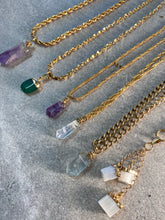 Load image into Gallery viewer, Dainty  Golden Soul Chain Necklace with 24k electroplated Aventurine Crystal