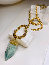 Load image into Gallery viewer, Amazonite  Crystal Pendulum gold Soul Chain Necklace
