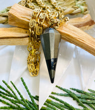 Load image into Gallery viewer, Pyrite Pendulum Gold Soul Chain Necklace w Crystal