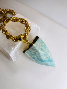 Amazonite  Crystal Pendulum gold Soul Chain Necklace