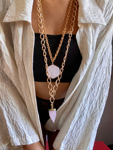 247 Soul Chain with Faceted Rose Quartz Crystal