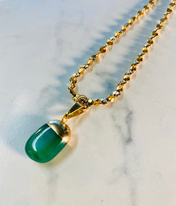 Dainty  Golden Soul Chain Necklace with 24k electroplated Aventurine Crystal