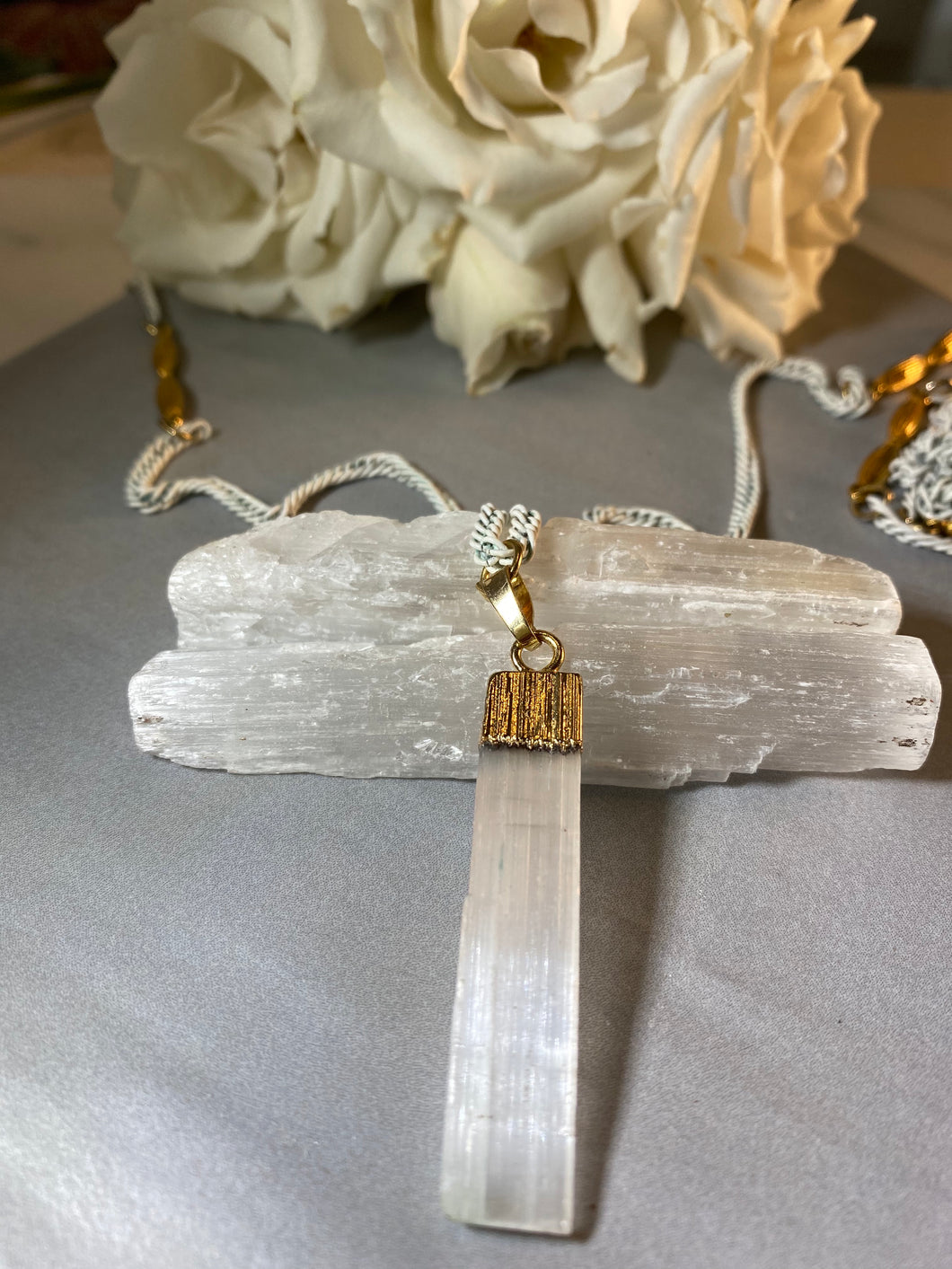 White and Gold Soul Chain w Selenite Crystal