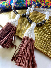 Load image into Gallery viewer, Sacral Root Chakra Soul Chain Earrings w XL Dip Dyed Tassel