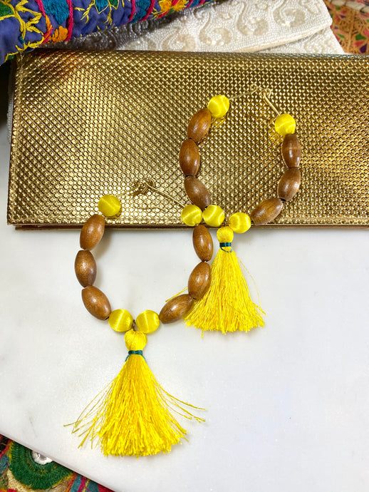 Yellow Solar Chakra Soul Chain Earrings w Vintage Teak Beads