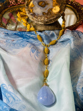 Load image into Gallery viewer, Chakra Blue Lace Agate  w Vintage Gold Y Chain Necklace