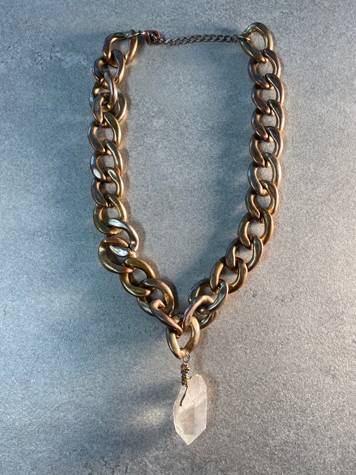 Chunky Mixed Metal Soul Chain w/ Chunky Clear Quartz
