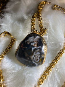 Chalcedony Crystal Soul Chain w 24K Gold Electroplated Crystal