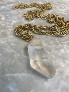 Shakti Chakra Soul Chain  Chunky Clear Quartz Crystal & XL Layering Gold Chain