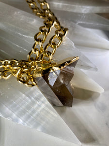 Double Pointed Smokey Quartz Soul Chain Necklace