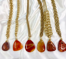 Load image into Gallery viewer, Sacral Chakra - Carnelian Soul Chain w Vintage Gold Plated Chain