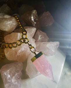 Heart Pendulum Soul Chain w Rose  Quartz Crystal