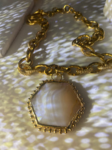 Gold Soul Chain w Faceted White Agate  Crystal