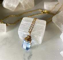 Load image into Gallery viewer, Dainty Baby Pillow Cut Faceted Blue Fluorite Soul Chain Necklace