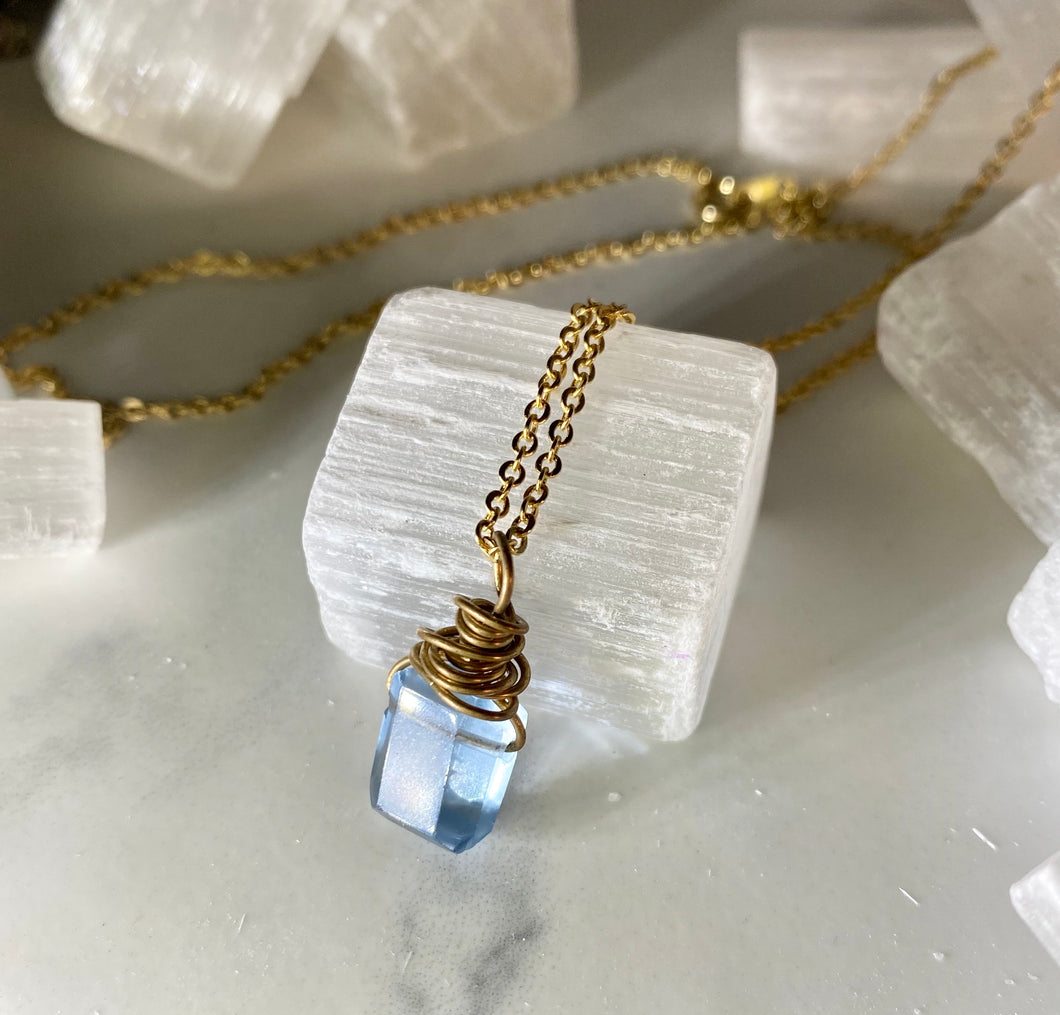 Dainty Baby Pillow Cut Faceted Blue Fluorite Soul Chain Necklace