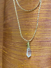 Load image into Gallery viewer, Dainty Baby Golden Soul Chain w Herikmer Diamond Quartz Crystal