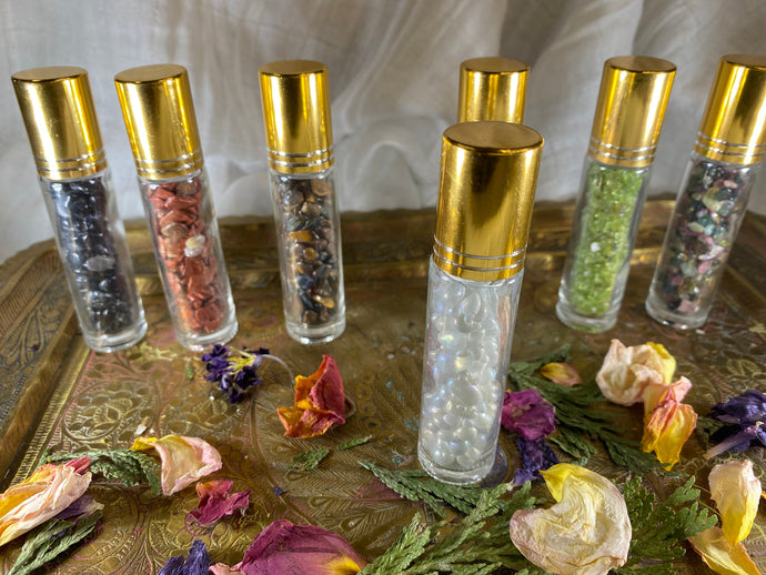Clear Quartz Crystal Refillable Rollerball for Essential Oils