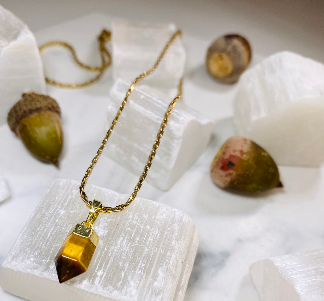 Dainty Baby Soul Chain Necklace w Tigers Eye Crystal