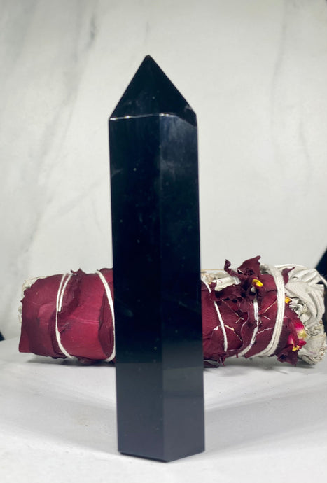 Black Obsidian Crystal Tower Point #1