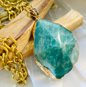 Amazonite Faceted Crystal Gold Link  Soul Chain