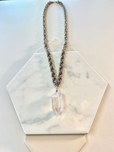 "Silver Double Circle Soul Chain Necklace with Chunky Crystal 30""l Crystal 2""L - Ola Wyola"