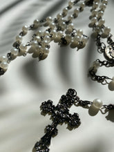 Load image into Gallery viewer, Vintage Pearl Rosary Bead Necklace w/ Fancy Cross - Ola Wyola