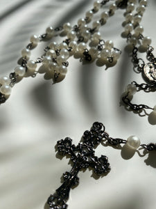 Vintage Pearl Rosary Bead Necklace w/ Fancy Cross - Ola Wyola