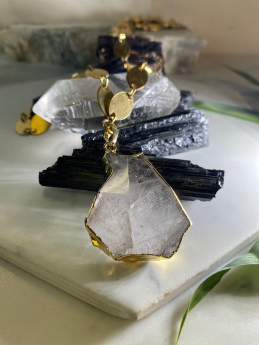 Shooting Star Gold and Clear Quartz Soul Chain