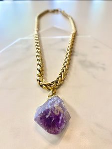 "Byzantine Golden Soul Chain Necklace  with Chunky Amethyst Crystal - 24""L Crystal 1""L - Ola Wyola"