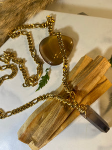 247 Golden Soul Chain w Rare Smokey Quartz