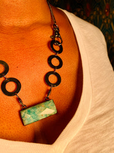 Amazonite Black Soul Chain Crystal Necklace