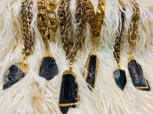 Double Gold Chain Root Chakra Soul Chains a Electroplated Gold Black Tourmaline Crystal