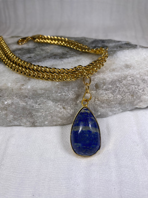 Soul Chain Bangle w Gold Plated Lapis Crystal Bracelet
