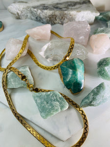 Sleek Gold Soul Chain w Faceted Amazonite Crystal