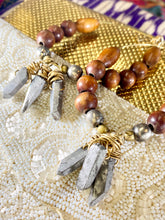 Load image into Gallery viewer, Soul Chain Earrings w Titanium Quartz Crystals and Vintage Beads