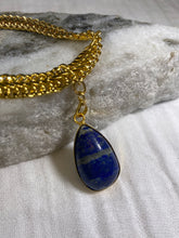 Load image into Gallery viewer, Soul Chain Bangle w Gold Plated Lapis Crystal Bracelet
