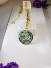 Load image into Gallery viewer, Moss Agate and Gold Link Soul Chain