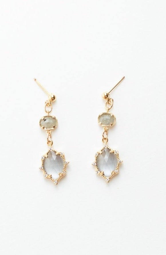 Gray Quartz Pave Post Earrings