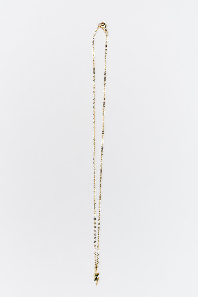 Small Black Pave Bolt Necklace