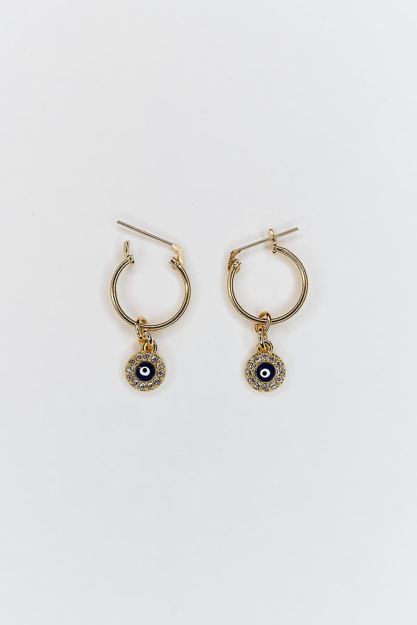 Tiny Pave Evil Eye Hoop Earrings
