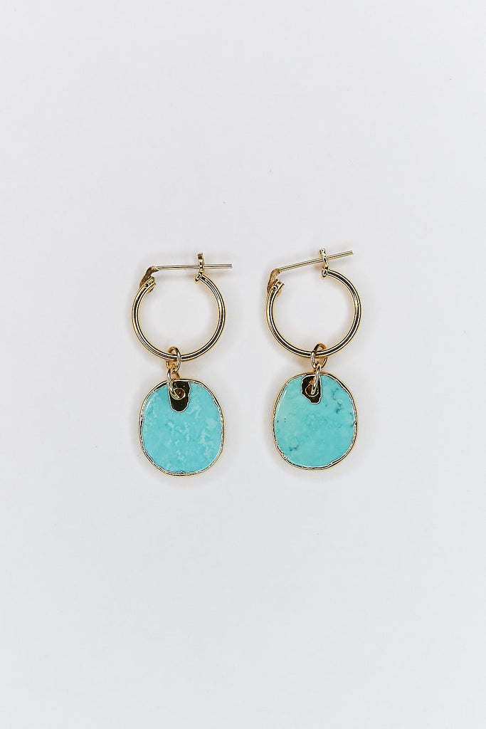 Turquoise Howlite Hoop Earrings